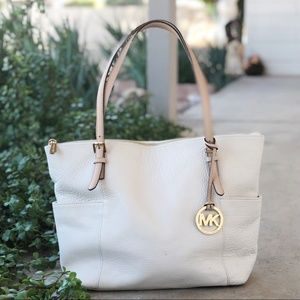 Michael Kors White Leather Jet Set East West Tote
